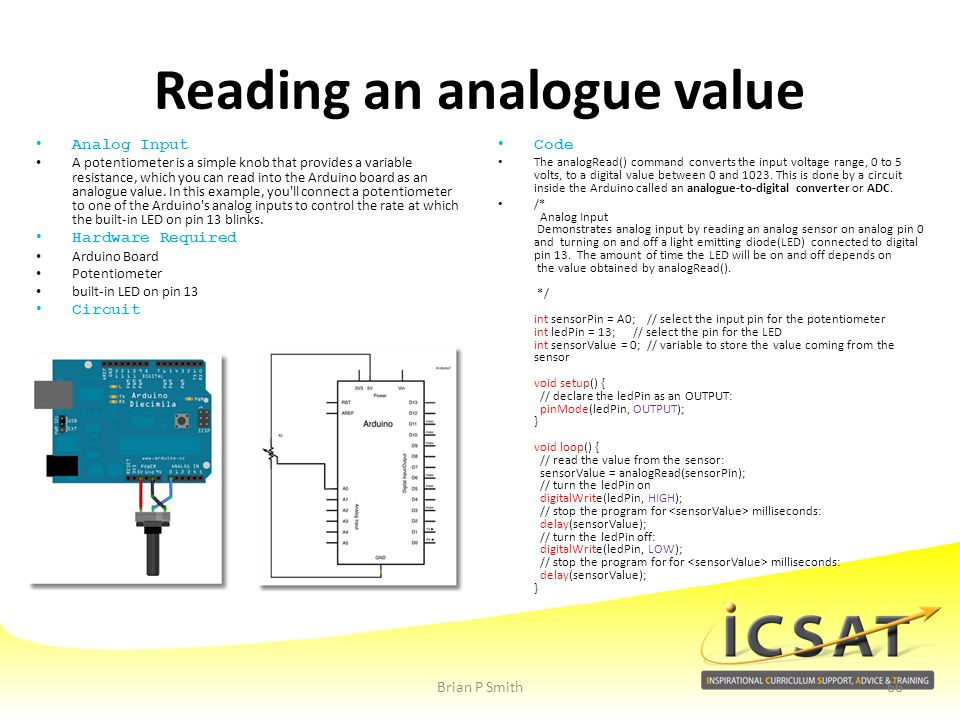 Reading an analogue value