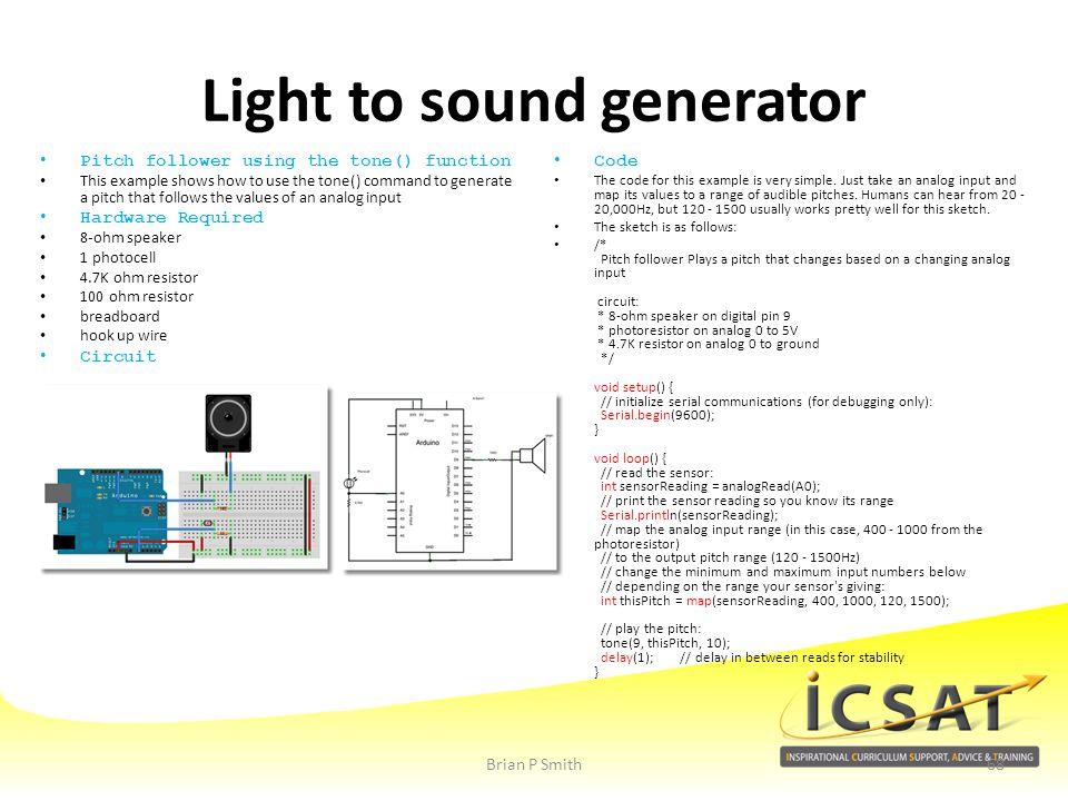 Light to sound generator