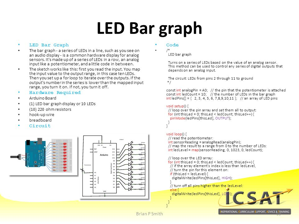 LED Bar graph LED Bar Graph Hardware Required Circuit Code
