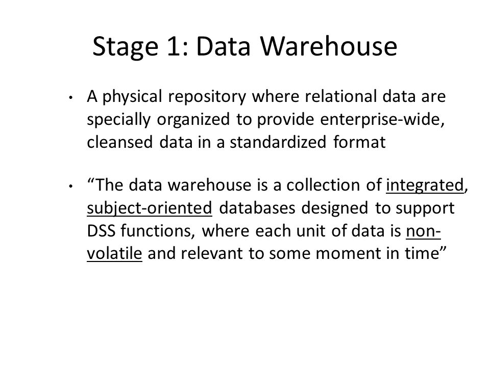 Stage 1: Data Warehouse
