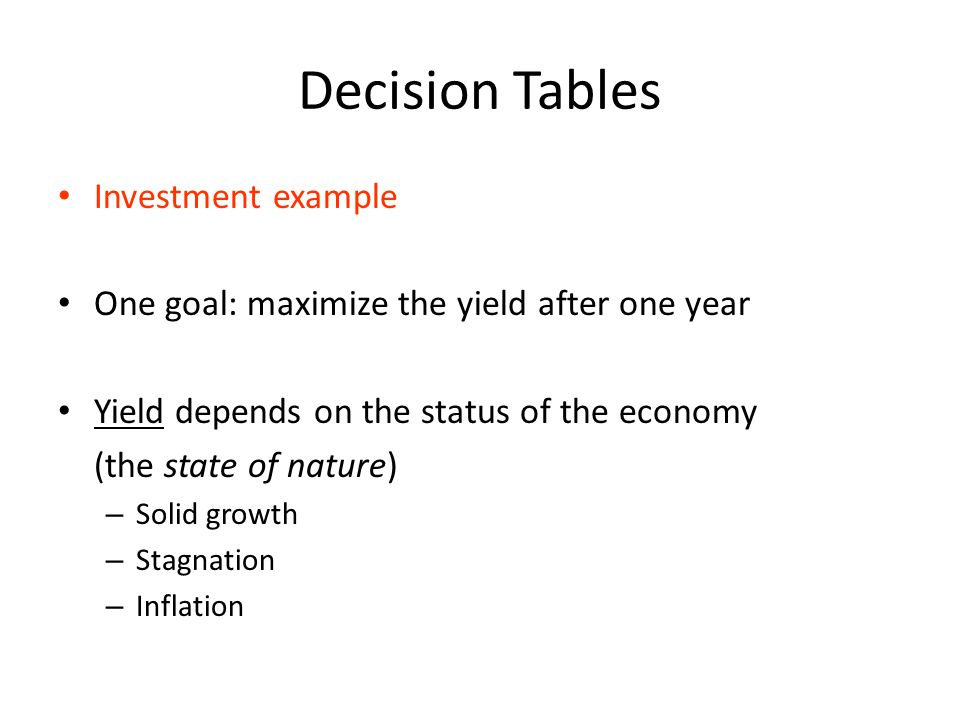 Decision Tables Investment example