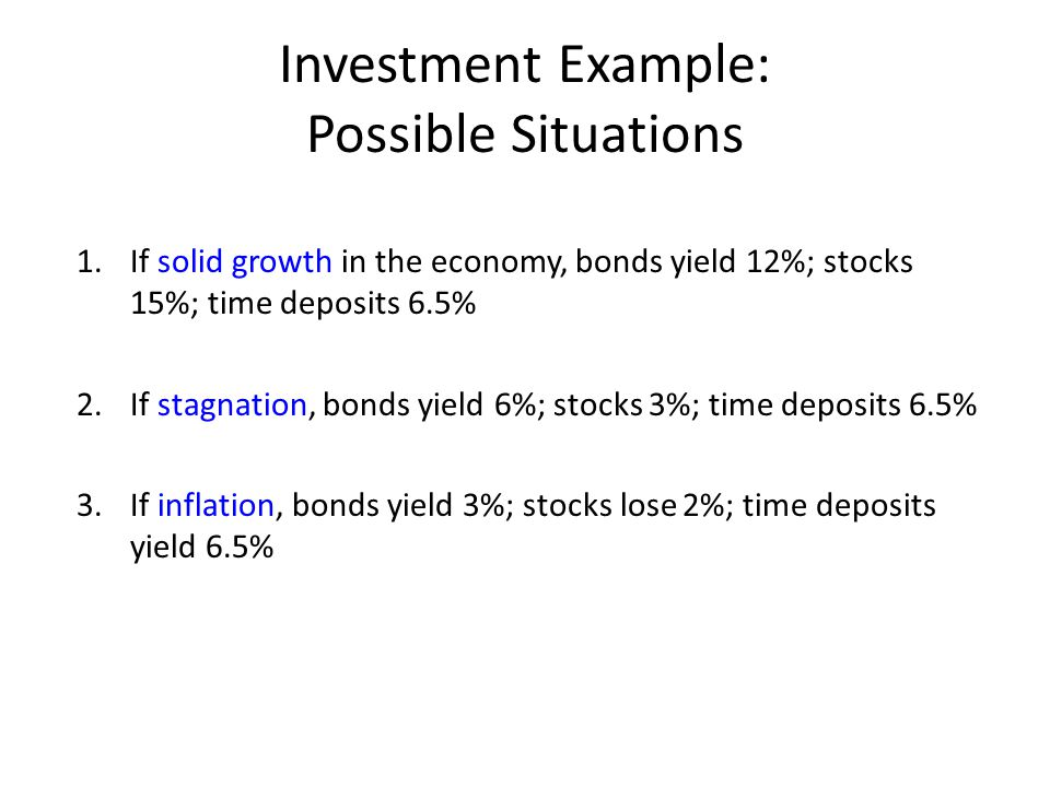 Investment Example: Possible Situations