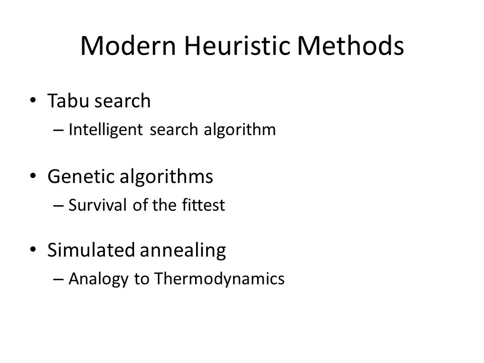 Modern Heuristic Methods