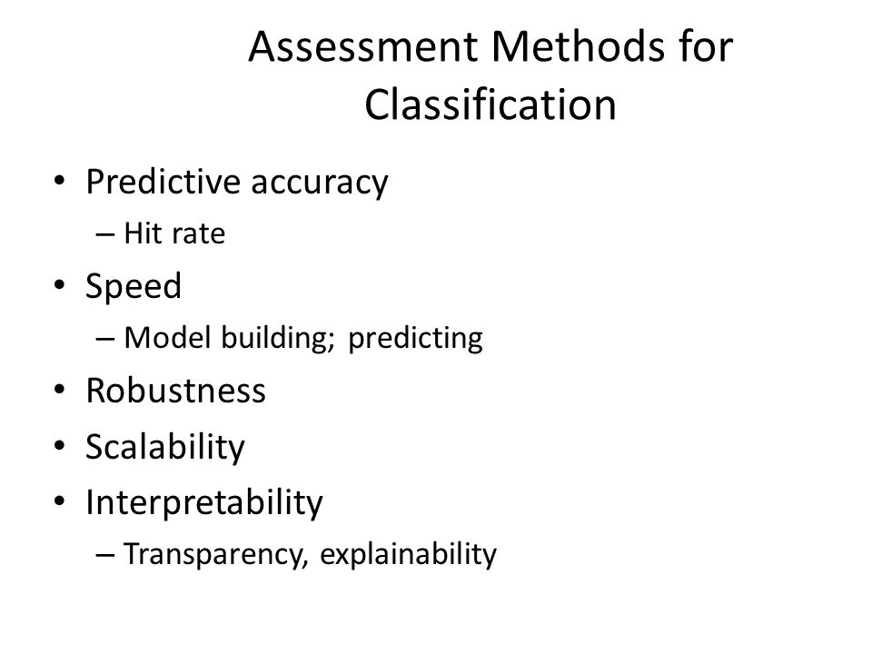 Assessment Methods for Classification