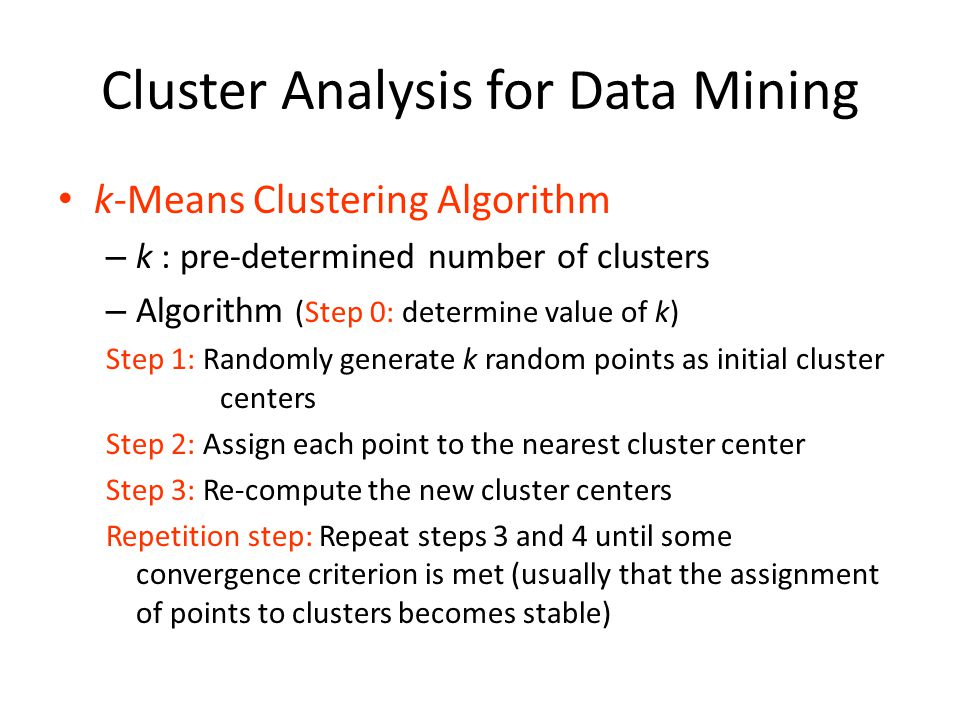 Cluster Analysis for Data Mining