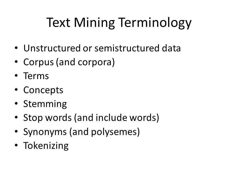 Text Mining Terminology