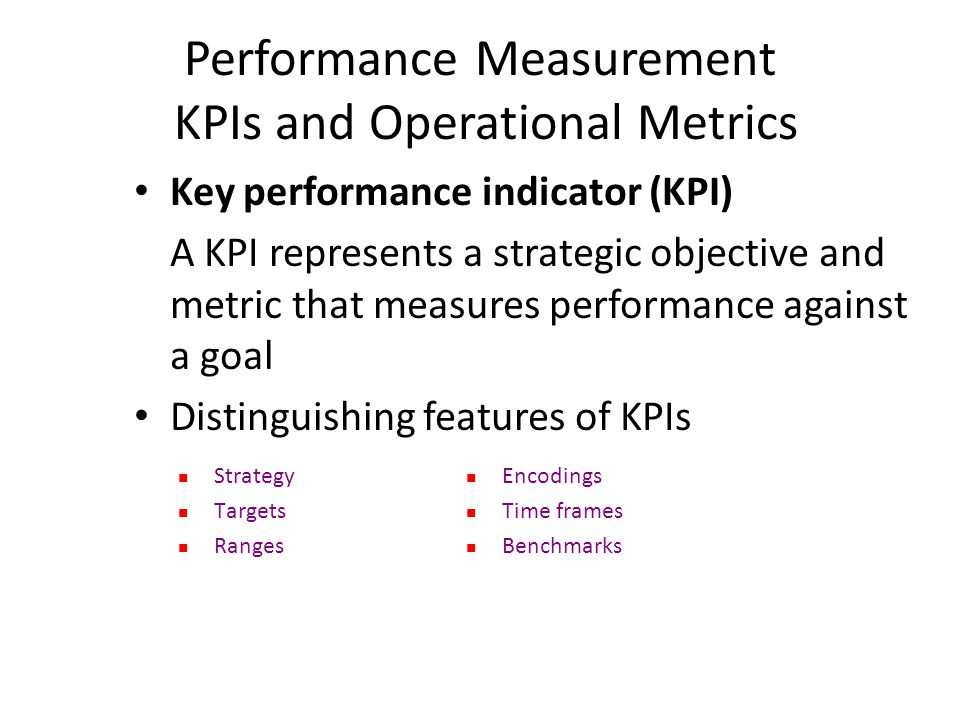 Performance Measurement KPIs and Operational Metrics