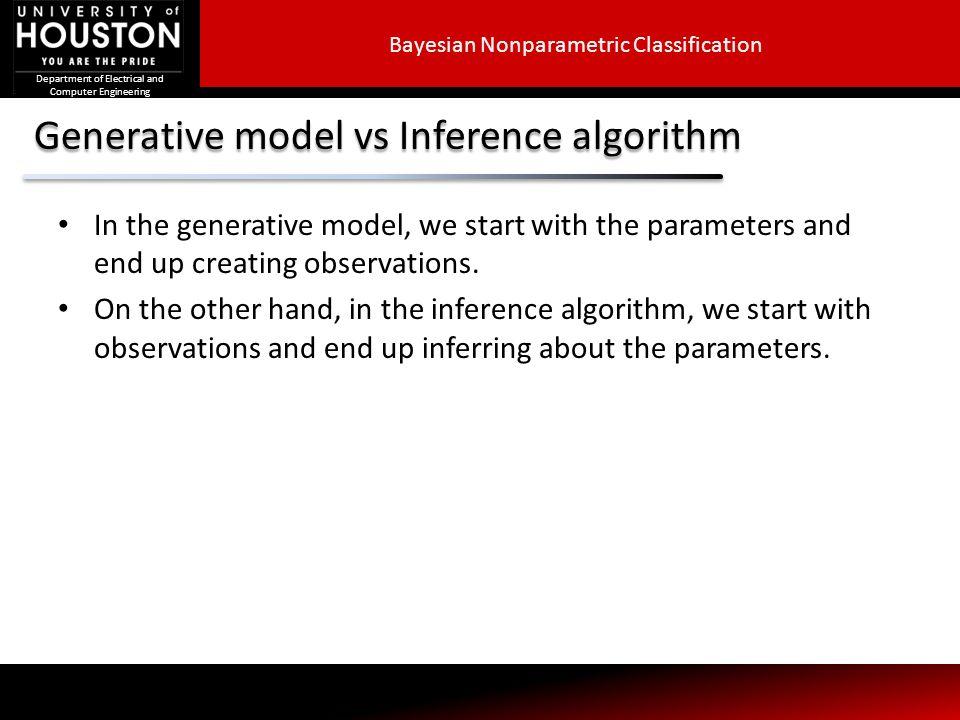 Generative model vs Inference algorithm