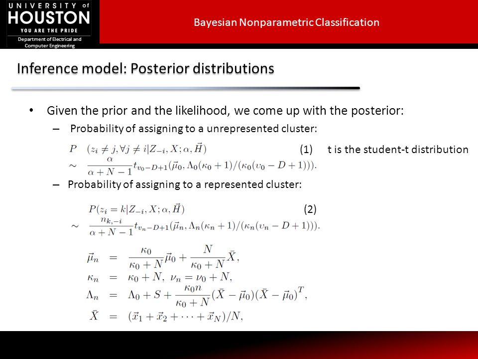 Inference model: Posterior distributions