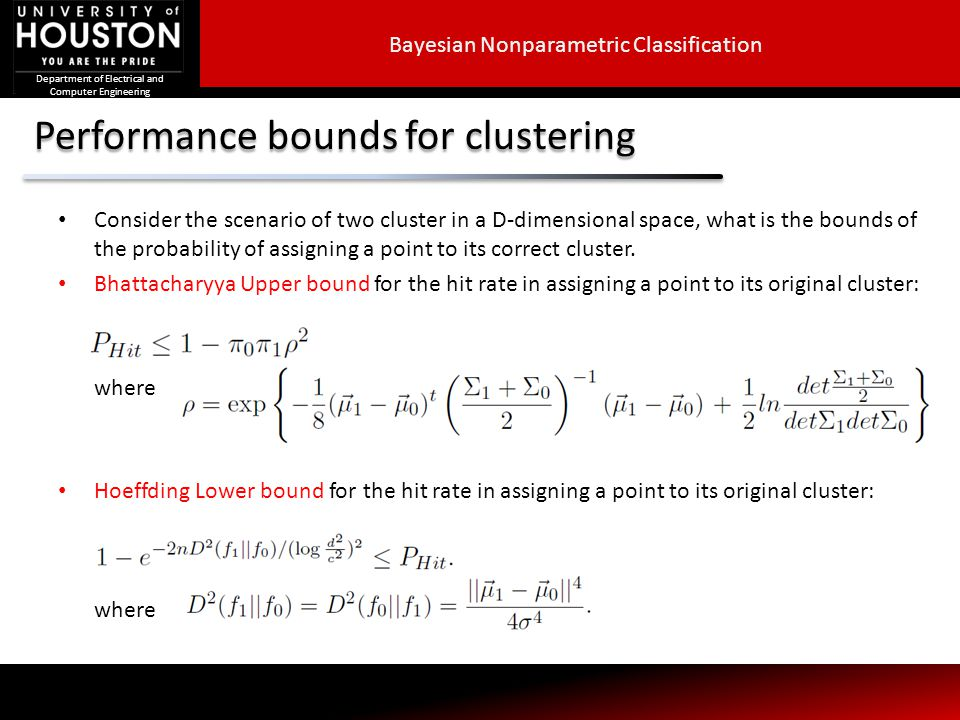 Performance bounds for clustering