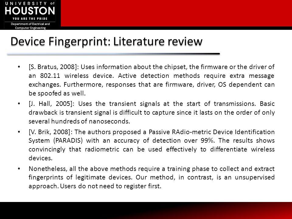 Device Fingerprint: Literature review
