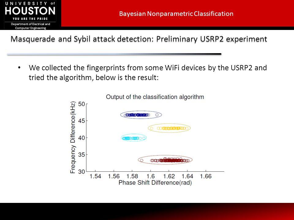 Masquerade and Sybil attack detection: Preliminary USRP2 experiment