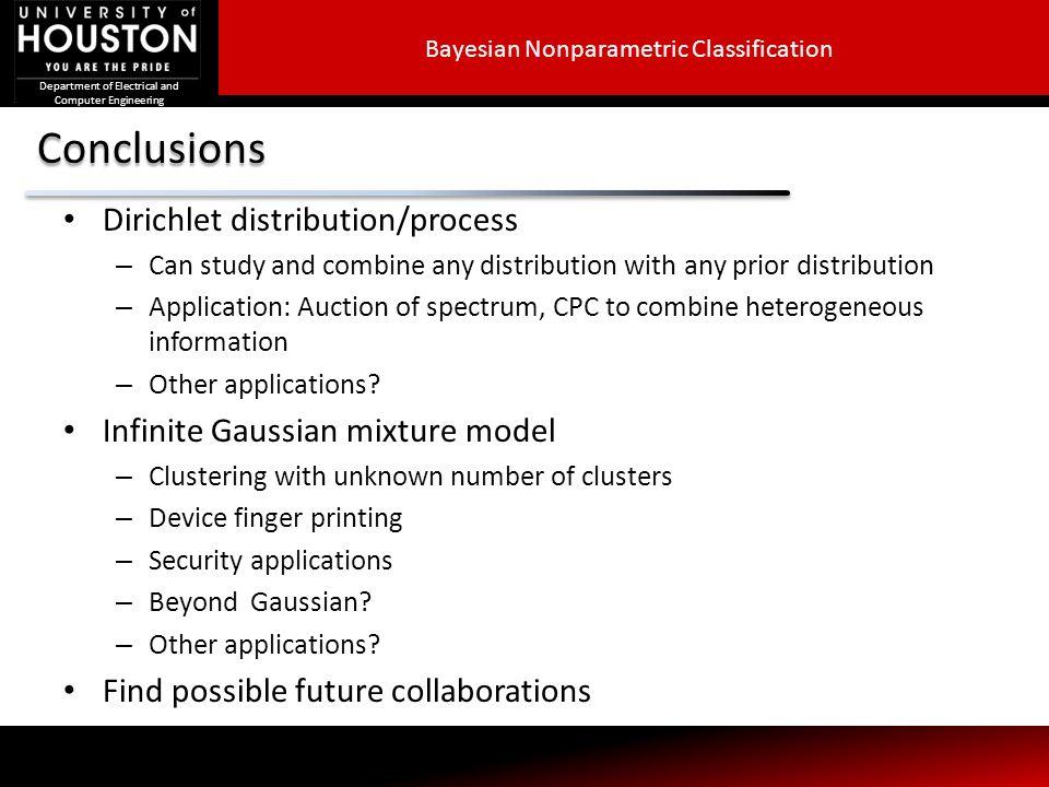 Conclusions Dirichlet distribution/process