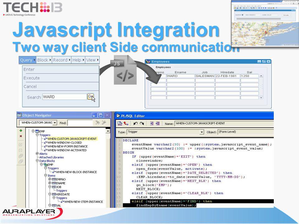 Javascript Integration Two way client Side communication