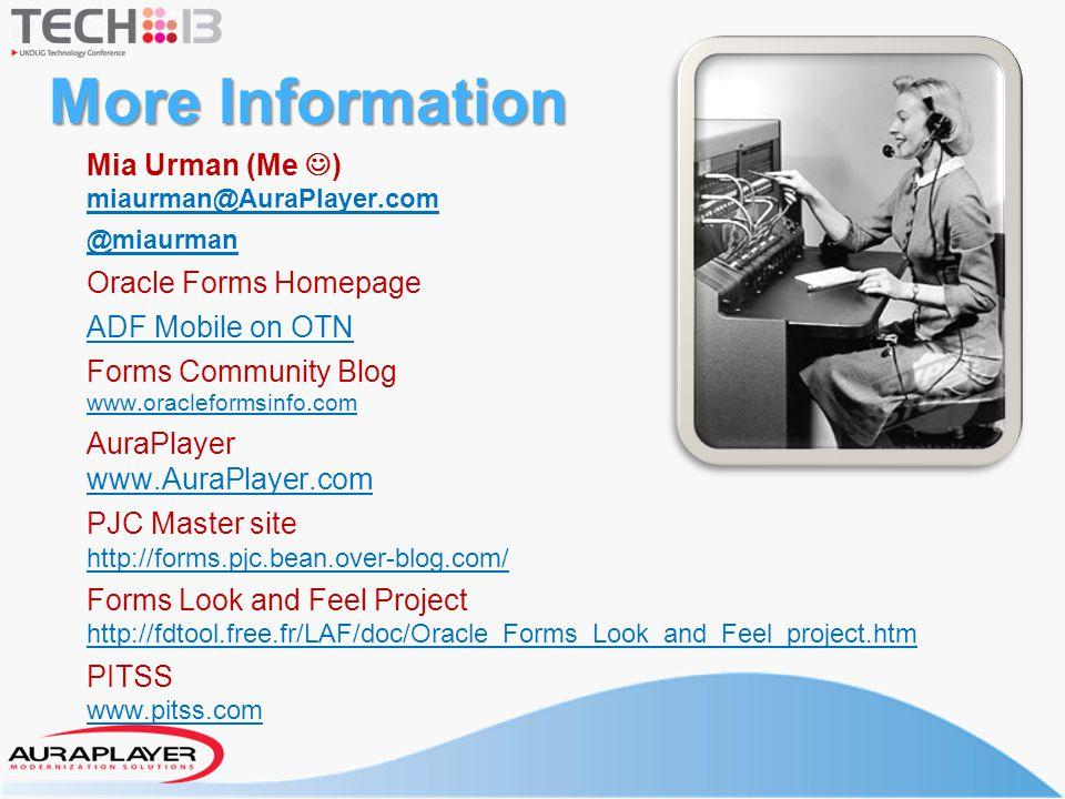 More Information Mia Urman (Me ) miaurman@AuraPlayer.com