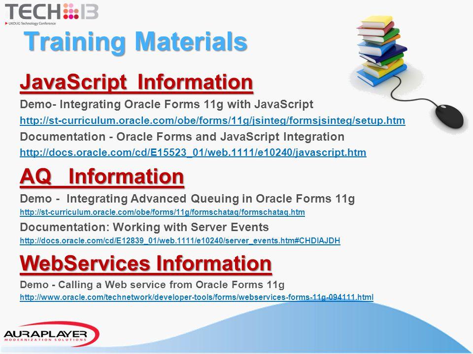 Training Materials JavaScript Information AQ Information