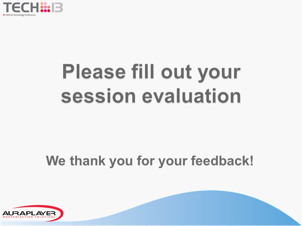 Please fill out your session evaluation