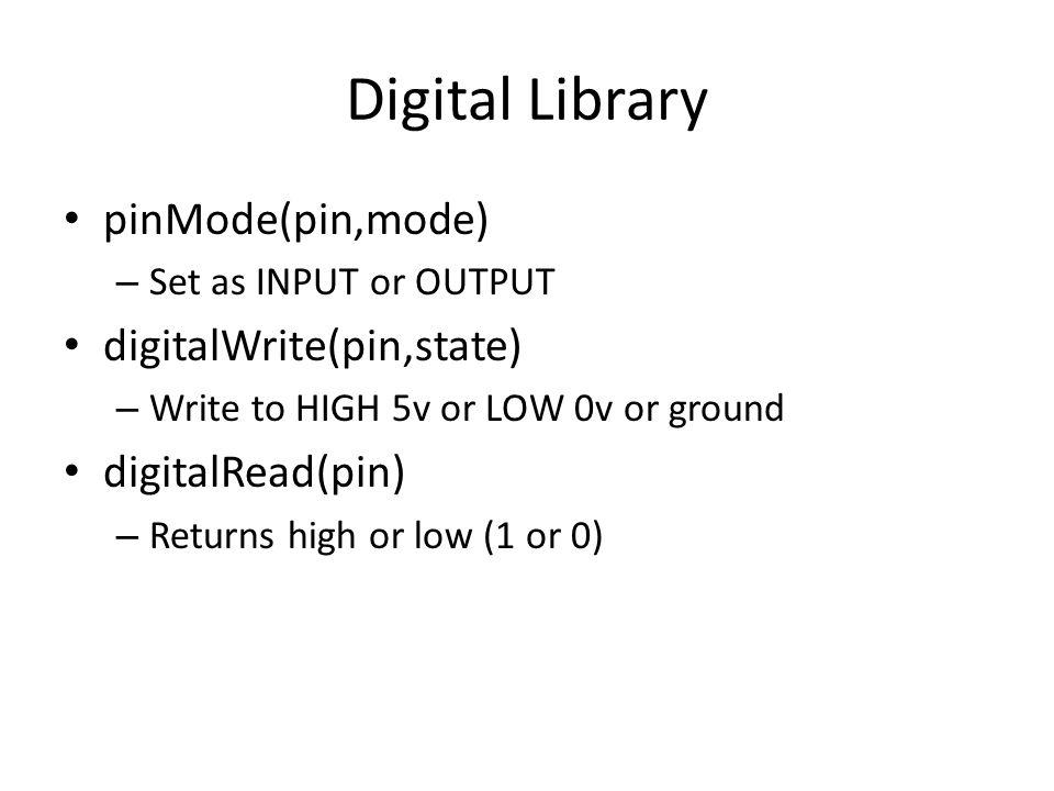 Digital Library pinMode(pin,mode) digitalWrite(pin,state)
