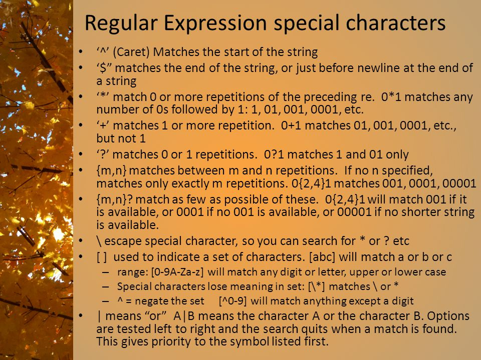 Regular Expression special characters