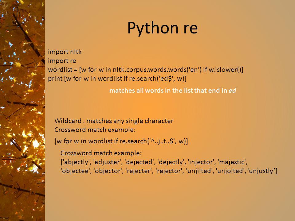 Python re import nltk import re