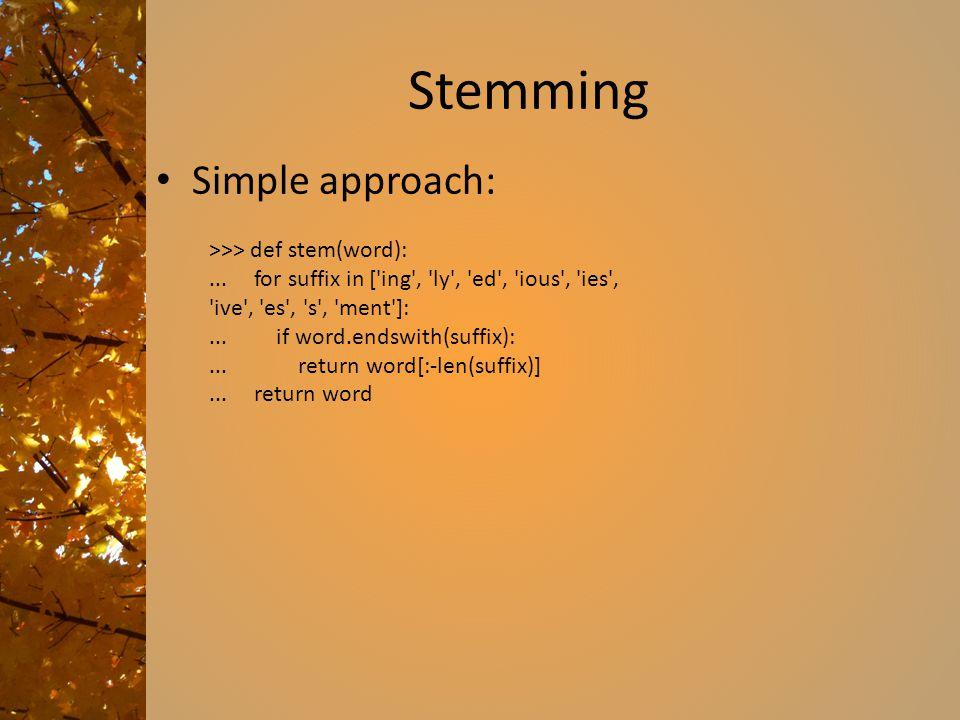 Stemming Simple approach: >>> def stem(word):