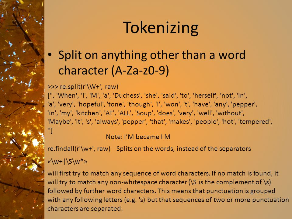Tokenizing Split on anything other than a word character (A-Za-z0-9)