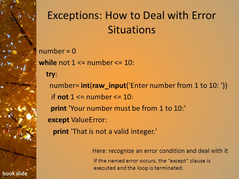 Exceptions: How to Deal with Error Situations