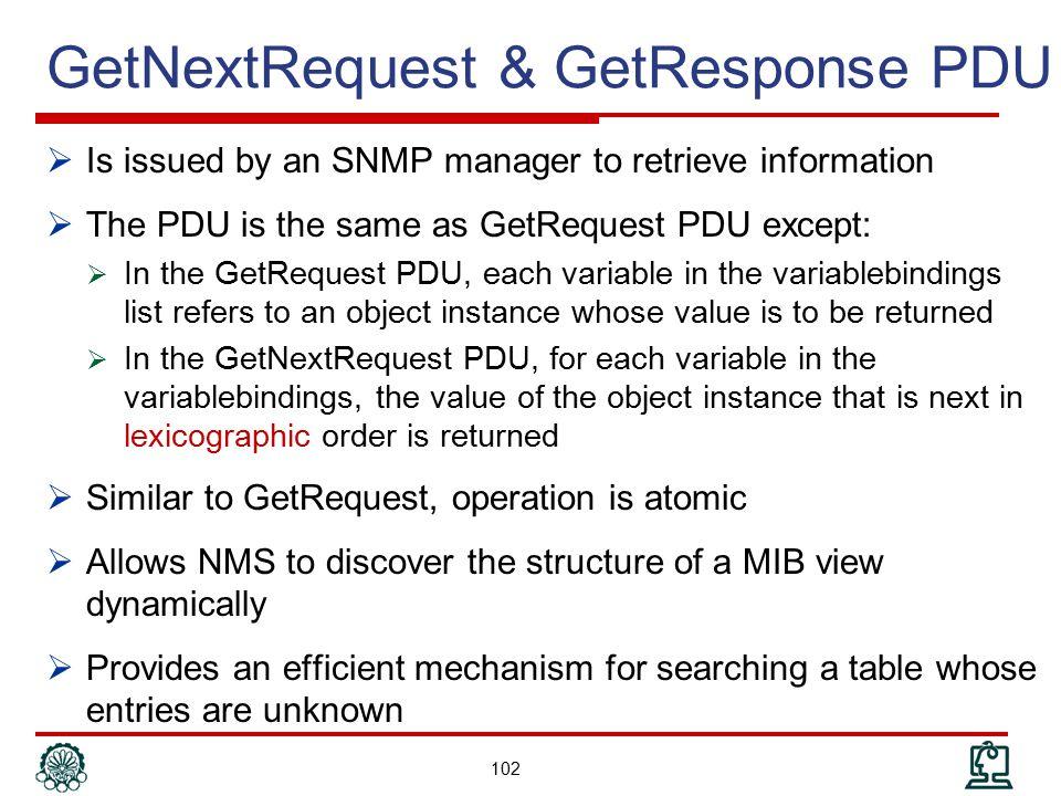 GetNextRequest & GetResponse PDU