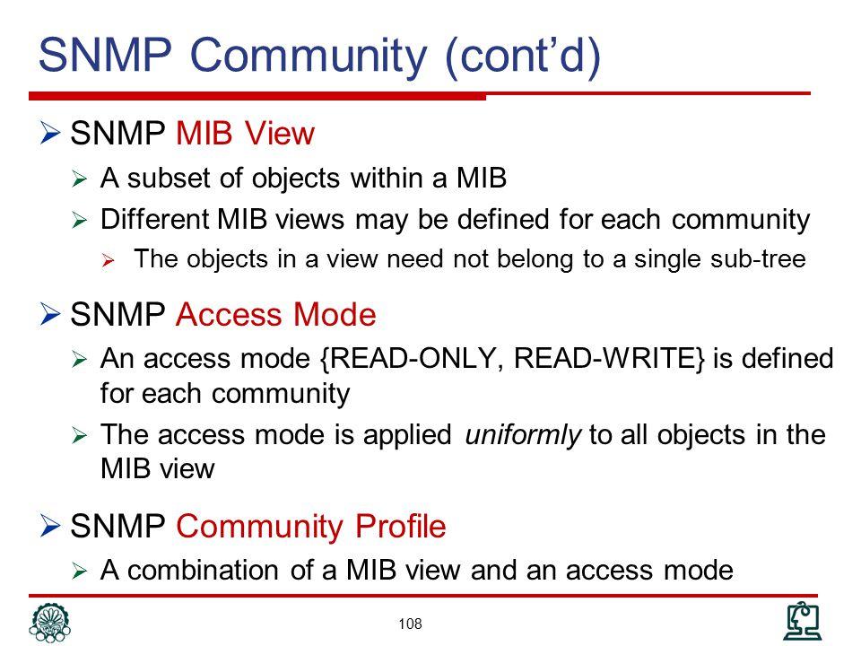 SNMP Community (cont'd)