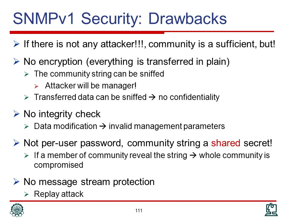 SNMPv1 Security: Drawbacks