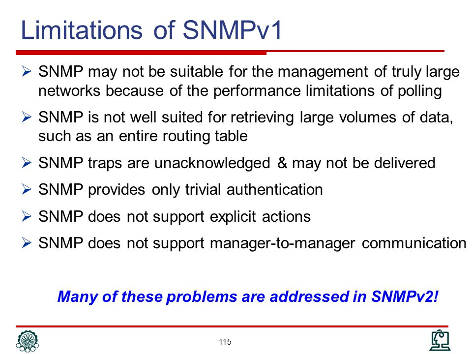 Many of these problems are addressed in SNMPv2!