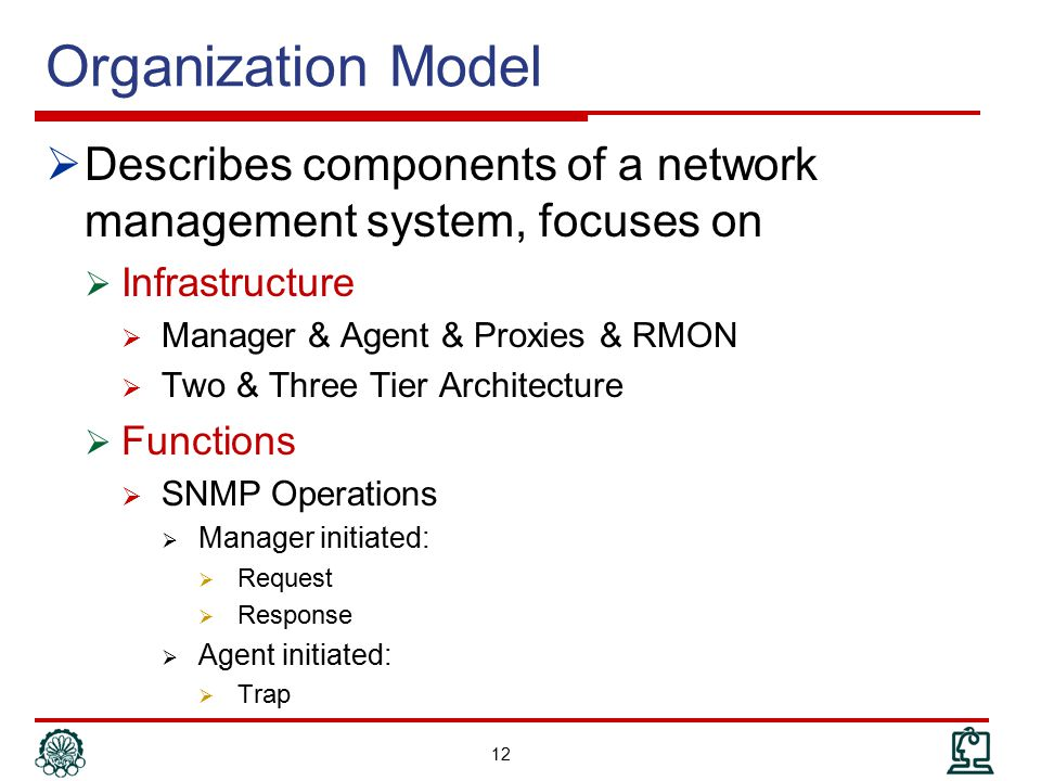 Organization Model Describes components of a network management system, focuses on. Infrastructure.