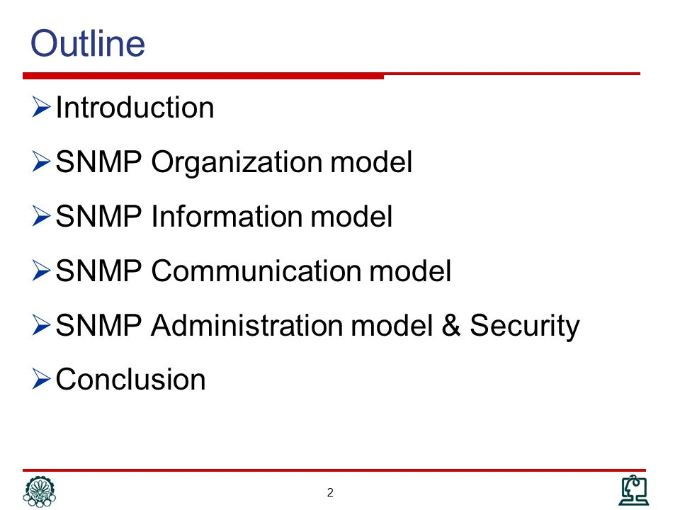 Outline Introduction SNMP Organization model SNMP Information model