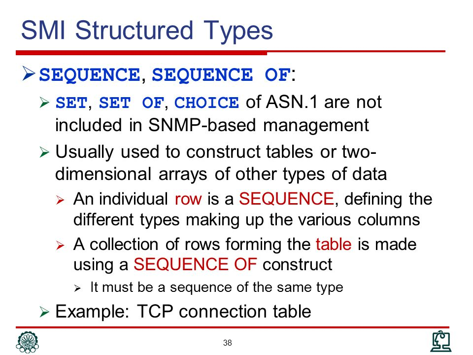 SMI Structured Types SEQUENCE, SEQUENCE OF: