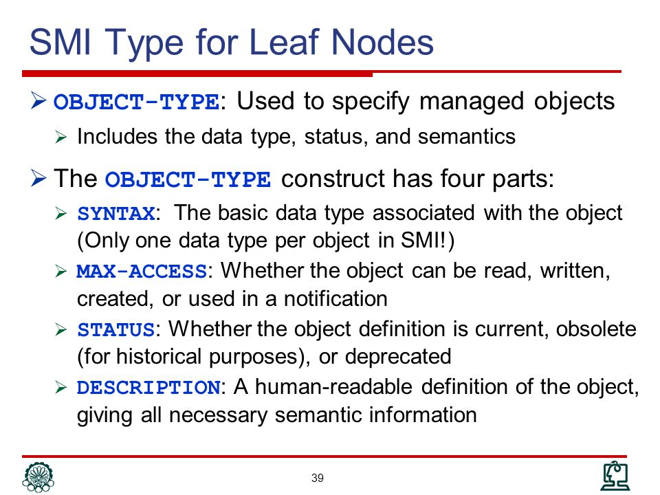 SMI Type for Leaf Nodes OBJECT-TYPE: Used to specify managed objects