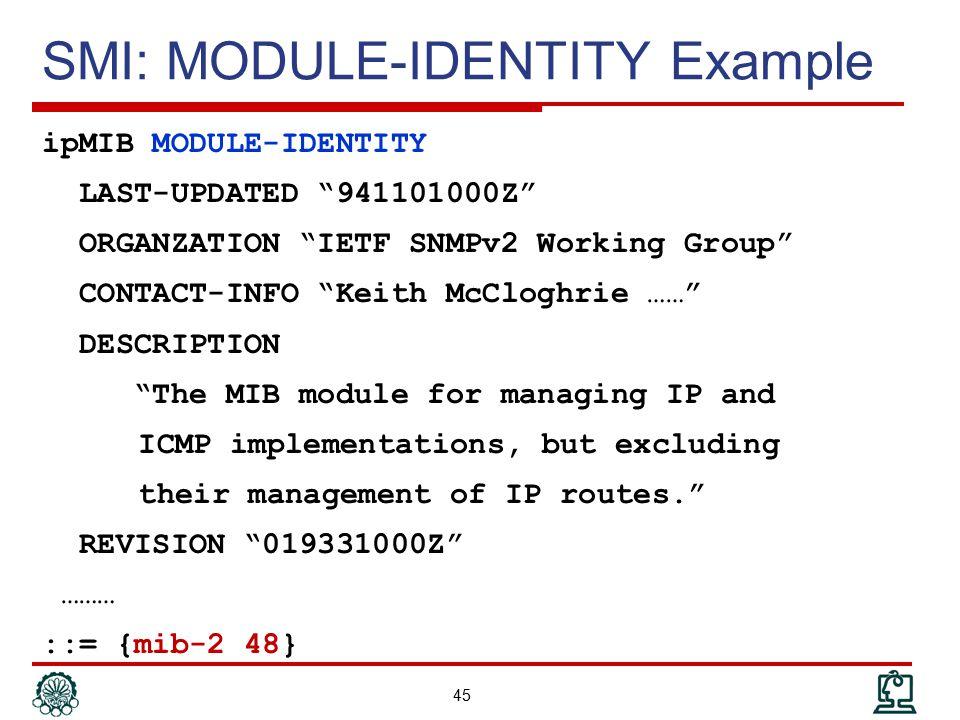 SMI: MODULE-IDENTITY Example