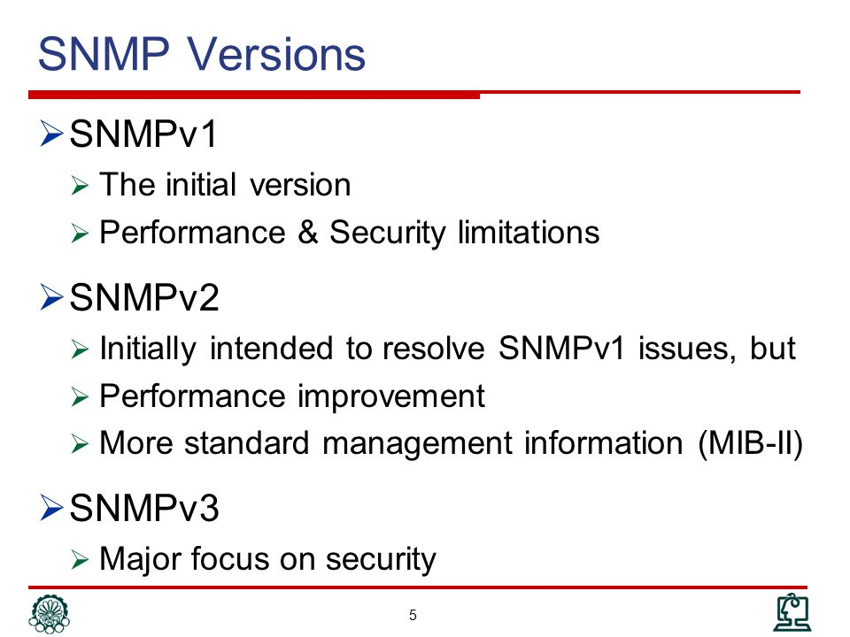SNMP Versions SNMPv1 SNMPv2 SNMPv3 The initial version