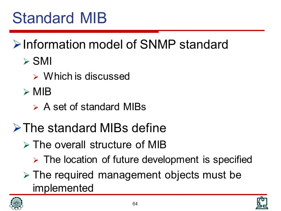 Standard MIB Information model of SNMP standard