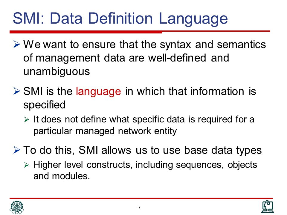 SMI: Data Definition Language