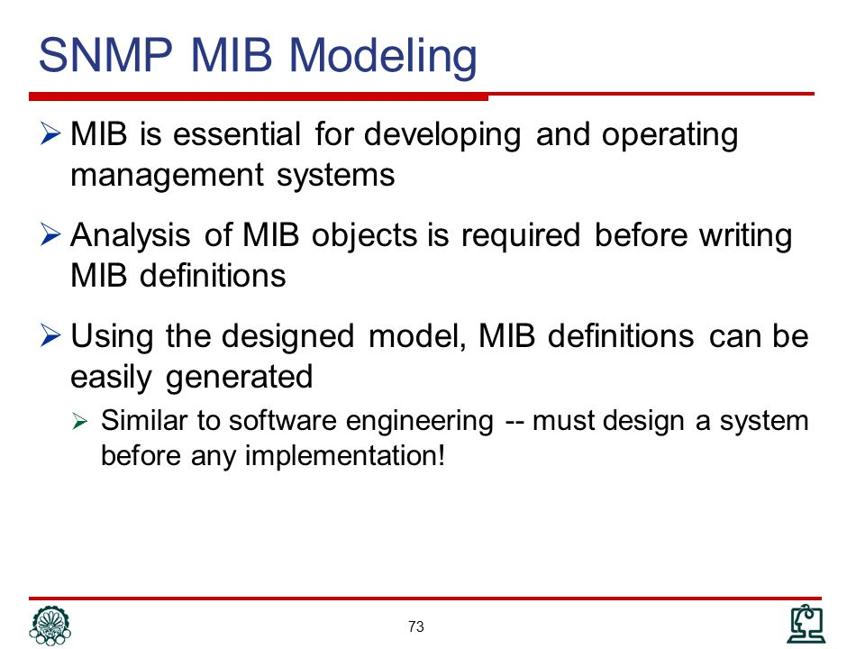 SNMP MIB Modeling MIB is essential for developing and operating management systems.