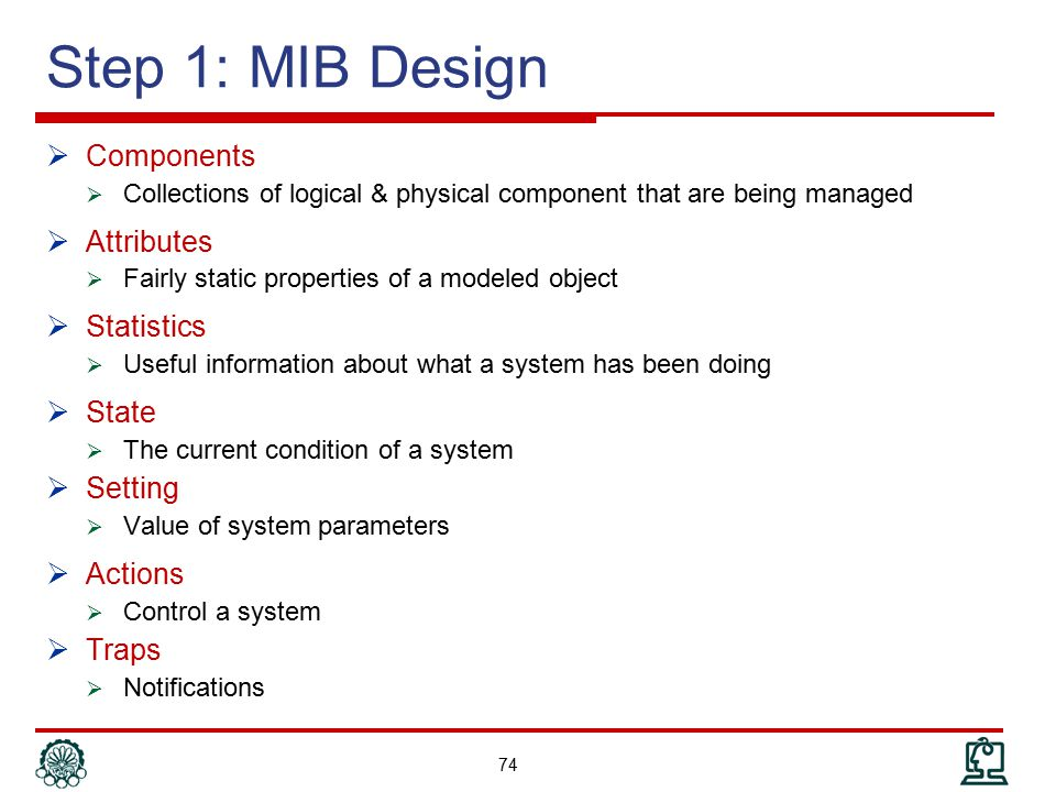 Step 1: MIB Design Components Attributes Statistics State Setting