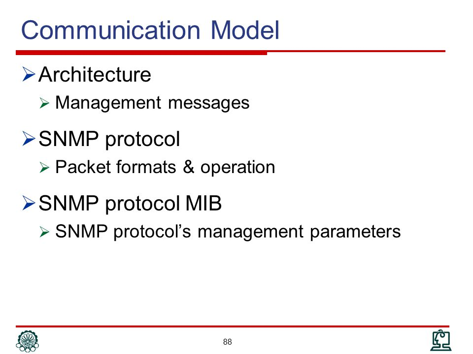 Communication Model Architecture SNMP protocol SNMP protocol MIB