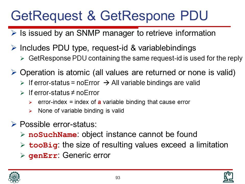 GetRequest & GetRespone PDU