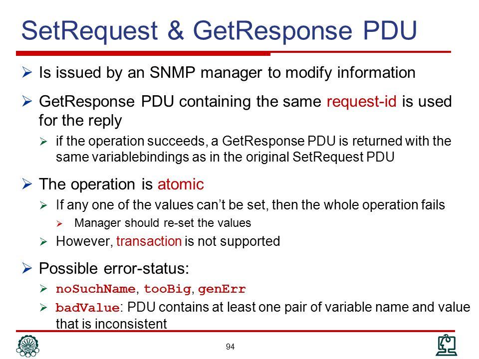 SetRequest & GetResponse PDU