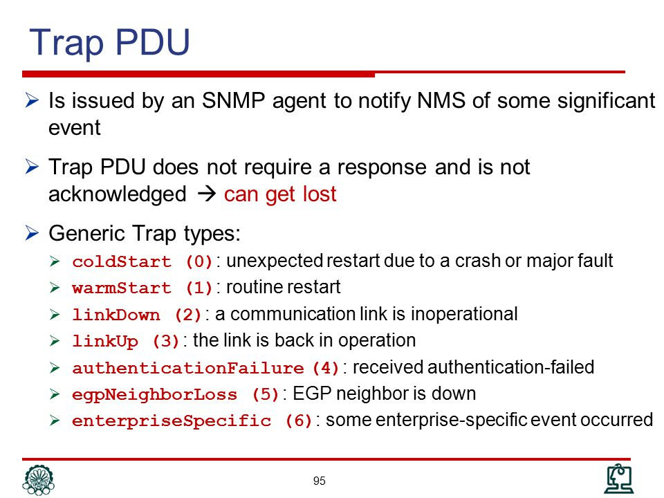 Trap PDU Is issued by an SNMP agent to notify NMS of some significant event.