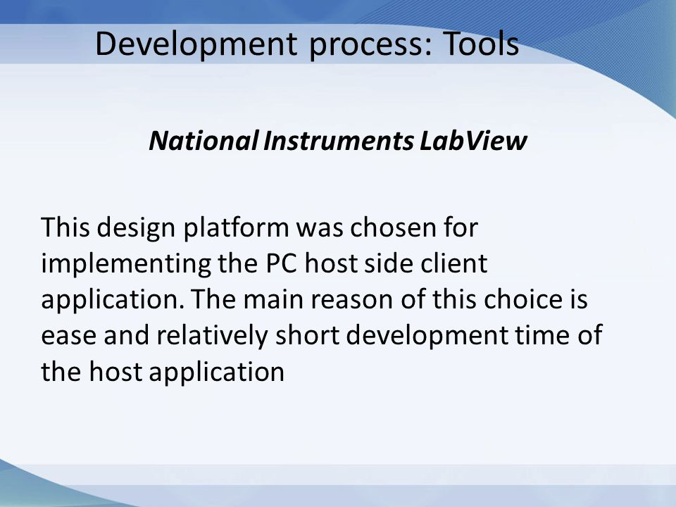 Development process: Tools