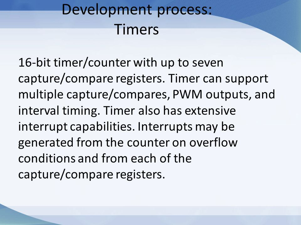 Development process: Timers