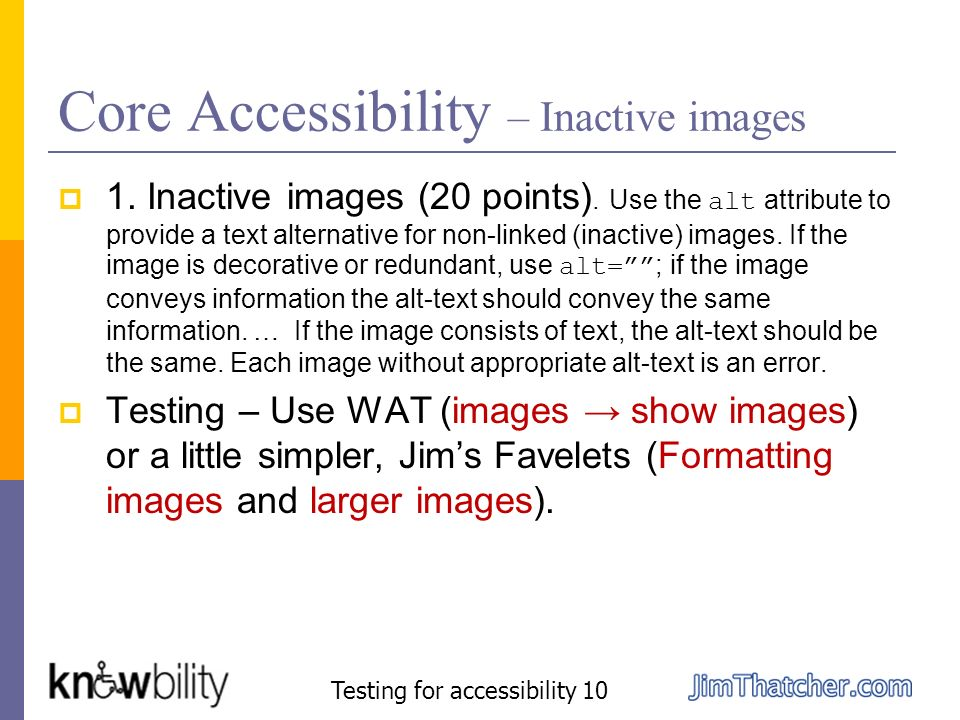 Core Accessibility – Inactive images