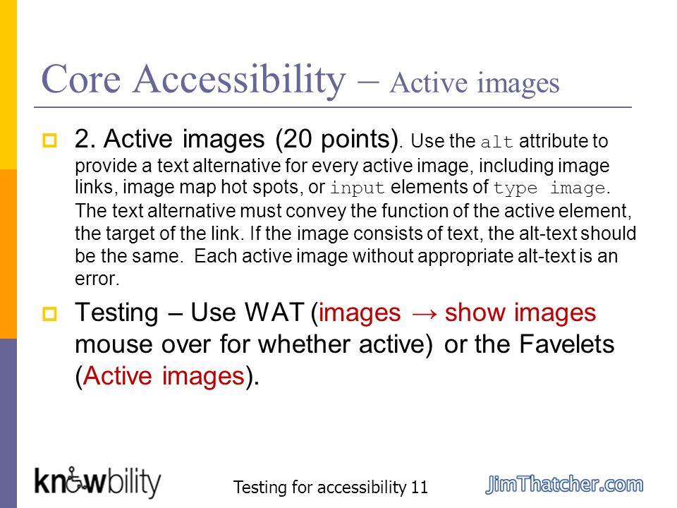 Core Accessibility – Active images