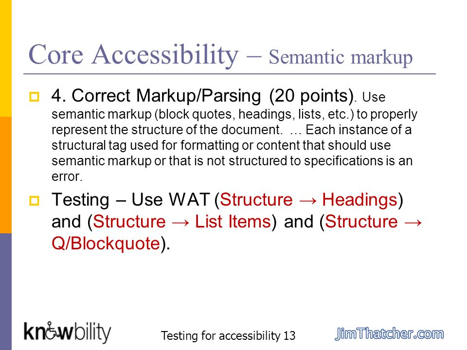 Core Accessibility – Semantic markup